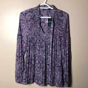 Ralph Lauren paisley tie neck blouse